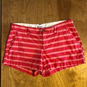 Pink striped chino shorts